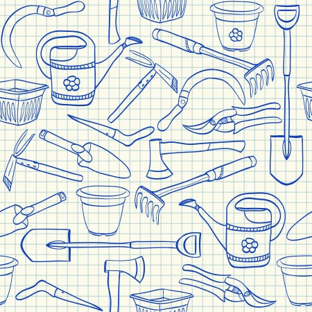 garden tool: Illustration of gardening tools doodles on squared paper seamless pattern Illustration