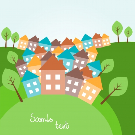 town modern home: Illustration of spring hilly landscape with houses Illustration