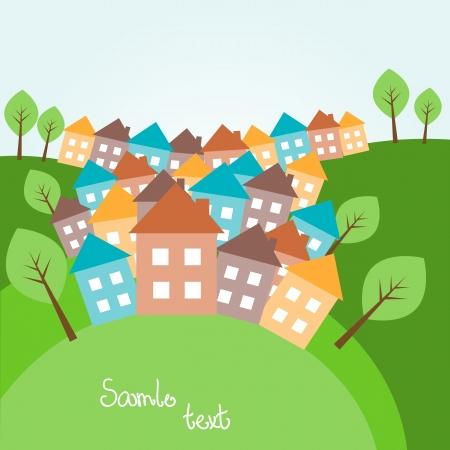 accidentado: Ilustraci�n de la primavera paisaje monta�oso con casas