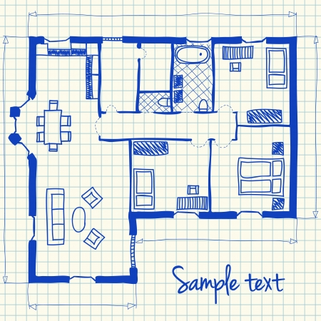 Illustration of floor plan doodle on school squared paper Zdjęcie Seryjne - 19846637