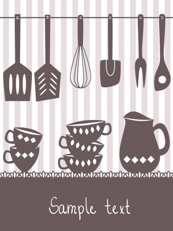 Illustration of kitchen utensils and cutlery with space for text Stock Vector - 19846580