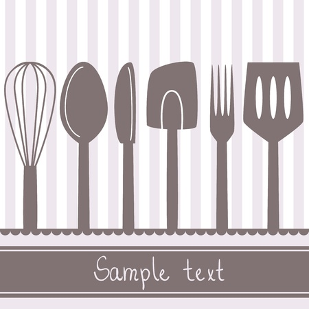 whisk: Illustration of kitchen utensils and cutlery with space for text