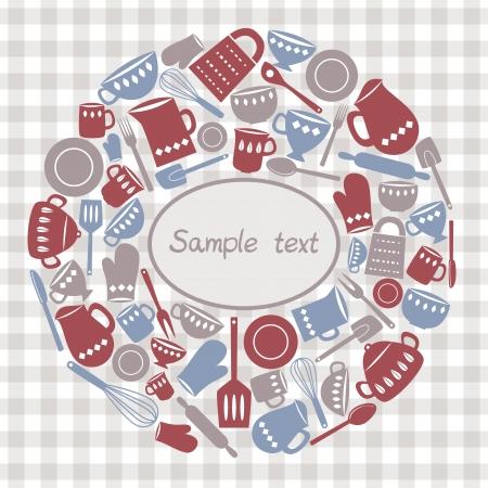 Illustratie van keukengerei en bestek met ruimte voor tekst