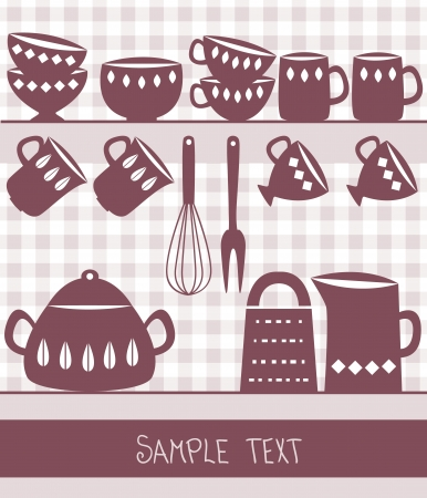 Illustration of kitchen utensils and cutlery with space for text Vector