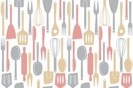 Illustratie van keukengerei en bestek, naadloos patroon Stock Illustratie
