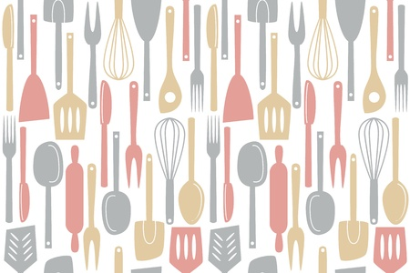 vintage cutlery: Illustration of kitchen utensils and cutlery, seamless pattern