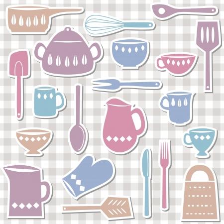 Illustration of kitchen utensils and cutlery, sticker style Stock Illustratie