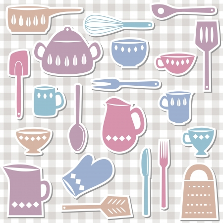 Illustration of kitchen utensils and cutlery, sticker style Ilustracja
