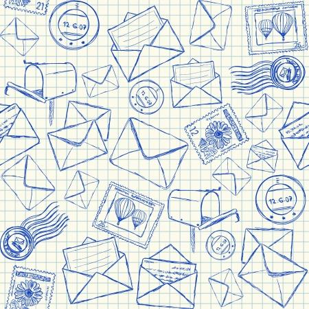 Illustratie van mail doodles op het kwadraat schoolkrant, naadloos patroon Vector Illustratie
