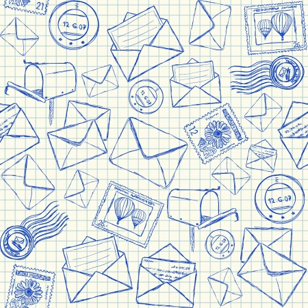 correspondencia: Ilustraci�n de los doodles de correo en papel de la escuela al cuadrado, patr�n transparente Vectores