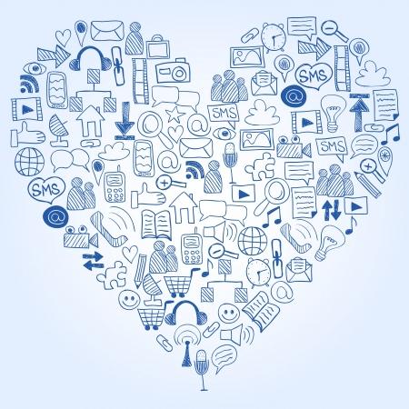 Social media doodles - hand getekende iconen in hartvorm