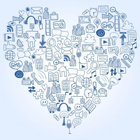 Social media doodles - hand drawn icons in heart shape