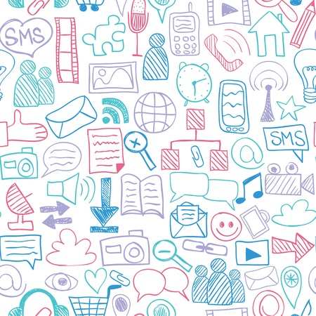 Social media doodles - hand drawn icons, seamless pattern Vector