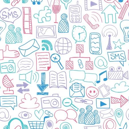 Social media doodles - hand getekende iconen, naadloos patroon Stock Illustratie