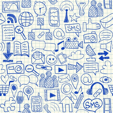 Social media doodles on school squared paper, seamless pattern Vettoriali