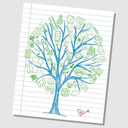 Social media doodles - hand drawn icons around tree sketch Stock Illustratie
