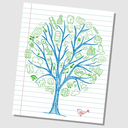 Social media doodles - hand drawn icons around tree sketch Vettoriali