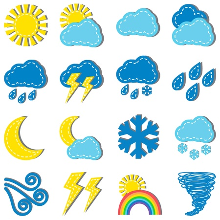 Illustration of weather dashed icons isolated  on white background Stock Vector - 19846641