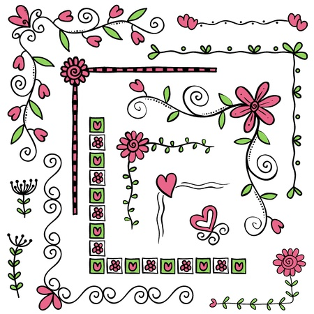 Illustratie van hoek of kader krabbels, hand getrokken stijl Stock Illustratie