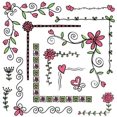 Illustration of corner or frame doodles, hand drawn style