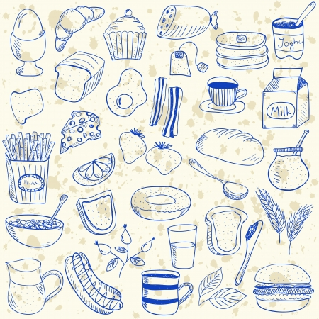 Illustration of breakfast doodles, hand drawn style Vector