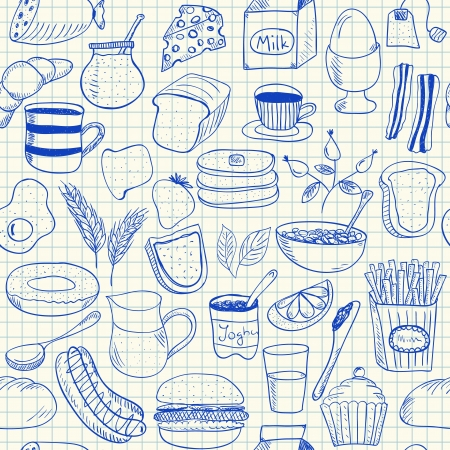 Illustration of breakfast doodles, seamless pattern on squared paper Vector