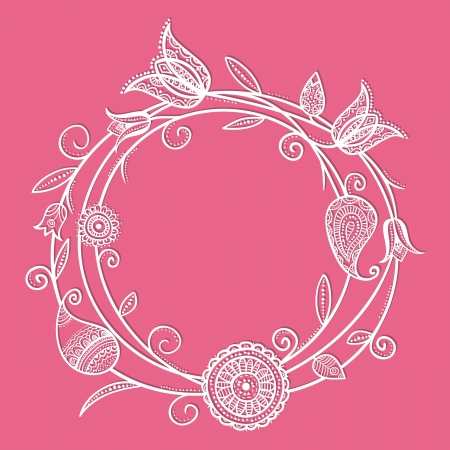 Illustration of doodle flowers in circle shape with swirls Stock Vector - 20365200