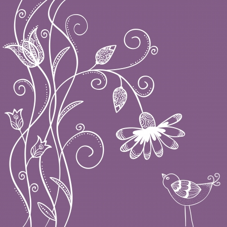Illustration of doodle flowers with swirls and bird Stock Vector - 20365197