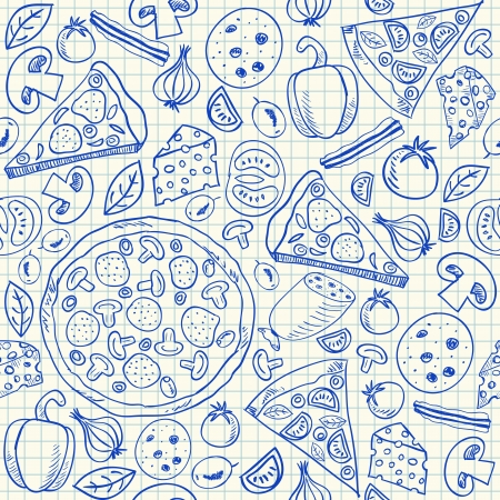Illustration of pizza doodles, seamless pattern on squared paper