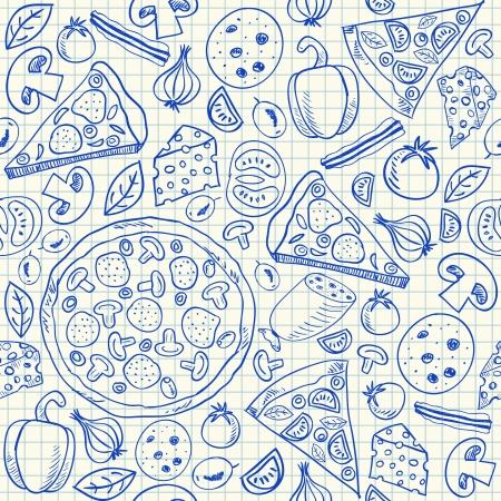 Illustratie van pizza doodles, naadloze patroon op ruitjespapier
