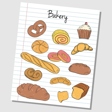 Illustration of bakery colored doodles on lined paper Vector