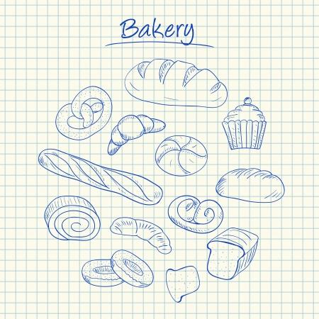 Illustration of bakery ink doodles on squared paper Stock Illustratie