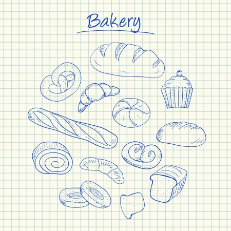 Illustration of bakery ink doodles on squared paper Vettoriali