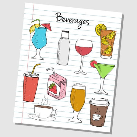 Illustration of beverages colored doodles on lined paper Vector