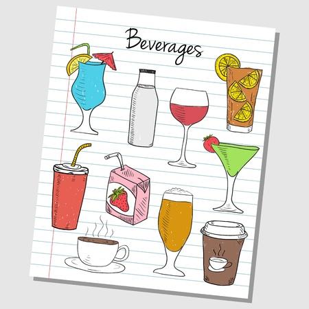 ice lemon tea: Illustration of beverages colored doodles on lined paper