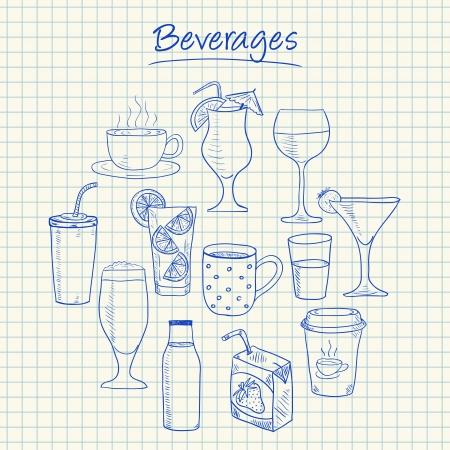 ice lemon tea: Illustration of beverages ink doodles on squared paper