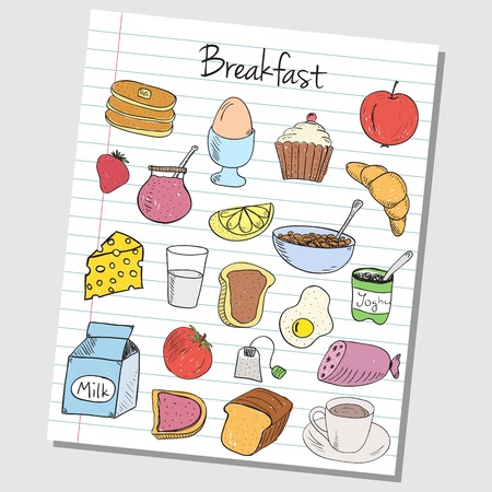 Illustration of breakfast colored doodles on lined paper Stock Vector - 20467971