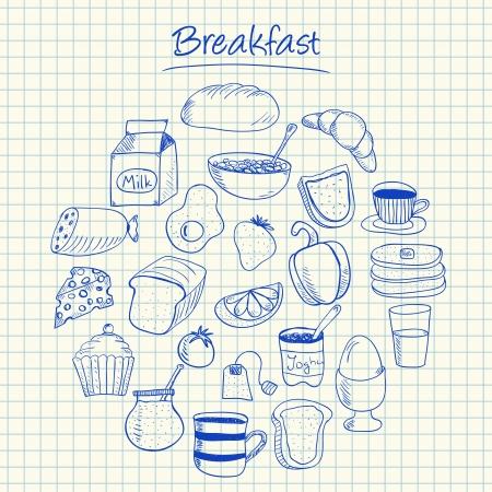 Illustration of breakfast ink doodles on squared paper Stock Illustratie
