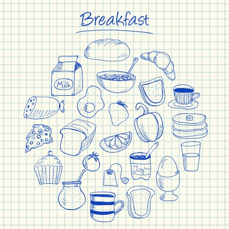 Illustration of breakfast ink doodles on squared paper Vettoriali
