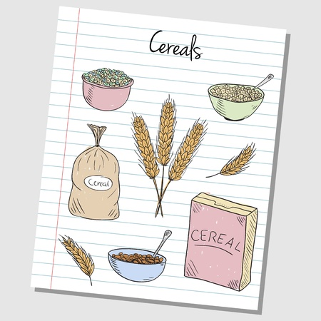cereal box: Illustration of cereals colored doodles on lined paper