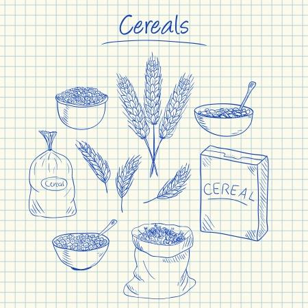 cereal: Ilustración de cereales garabatos de tinta sobre papel cuadriculado