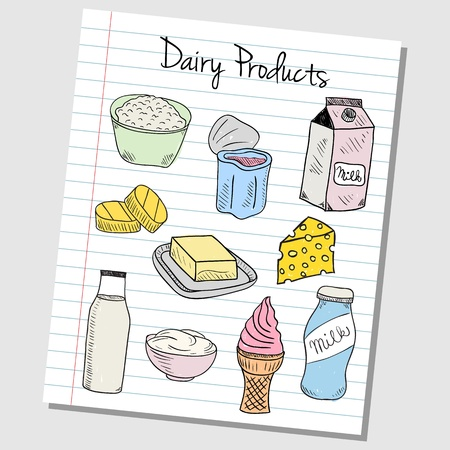 Illustration of dairy products colored doodles on lined paper