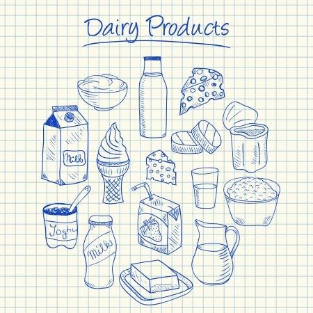 Illustratie van zuivelproducten inkt doodles op ruitjespapier Stock Illustratie