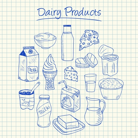 Illustration of dairy products ink doodles on squared paper