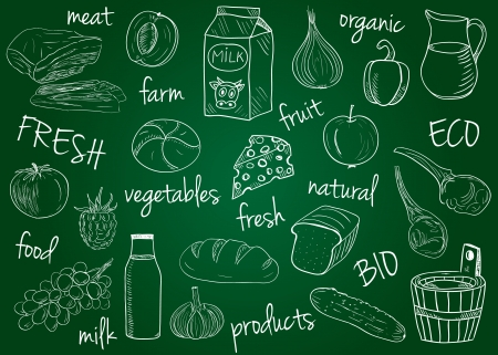 Illustration of farm products chalky doodles on school board Illustration