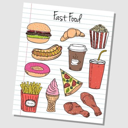 Illustratie van fast food gekleurde doodles op gelinieerd papier