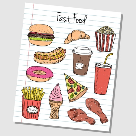 Illustration of fast food colored doodles on lined paper