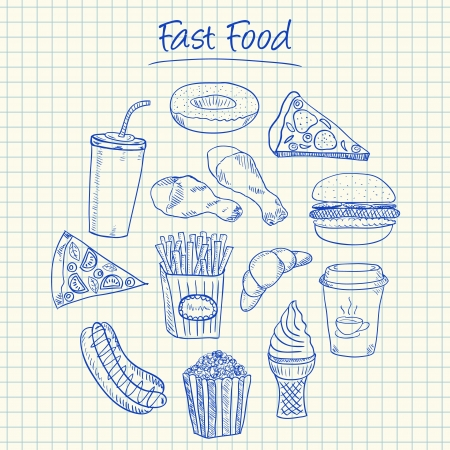 Illustration of fast food ink doodles on squared paper Stock Vector - 20467963