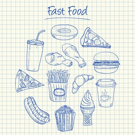 dog eating: Illustration of fast food ink doodles on squared paper