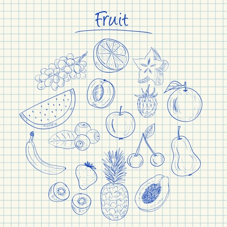 Illustration von Obst Tinte kritzelt auf kariertem Papier Standard-Bild - 20467980